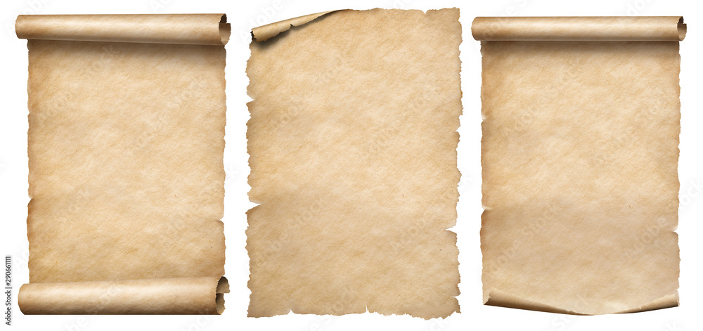 Fototapety, obrazy: Paper scrolls or vintage parchments set isolated on white