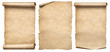 Leinwanddruck Bild - Paper scrolls or vintage parchments set isolated on white