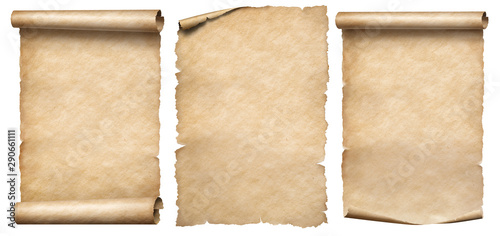 Fotobehang Retro Paper scrolls or vintage parchments set isolated on white