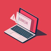 Isometric Laptop With Error Me...