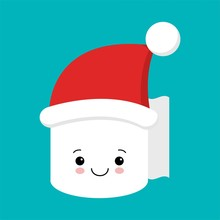 Cute And Funny Toilet Paper In Santa Hat Isolated On Blue Background. Cartoon Character