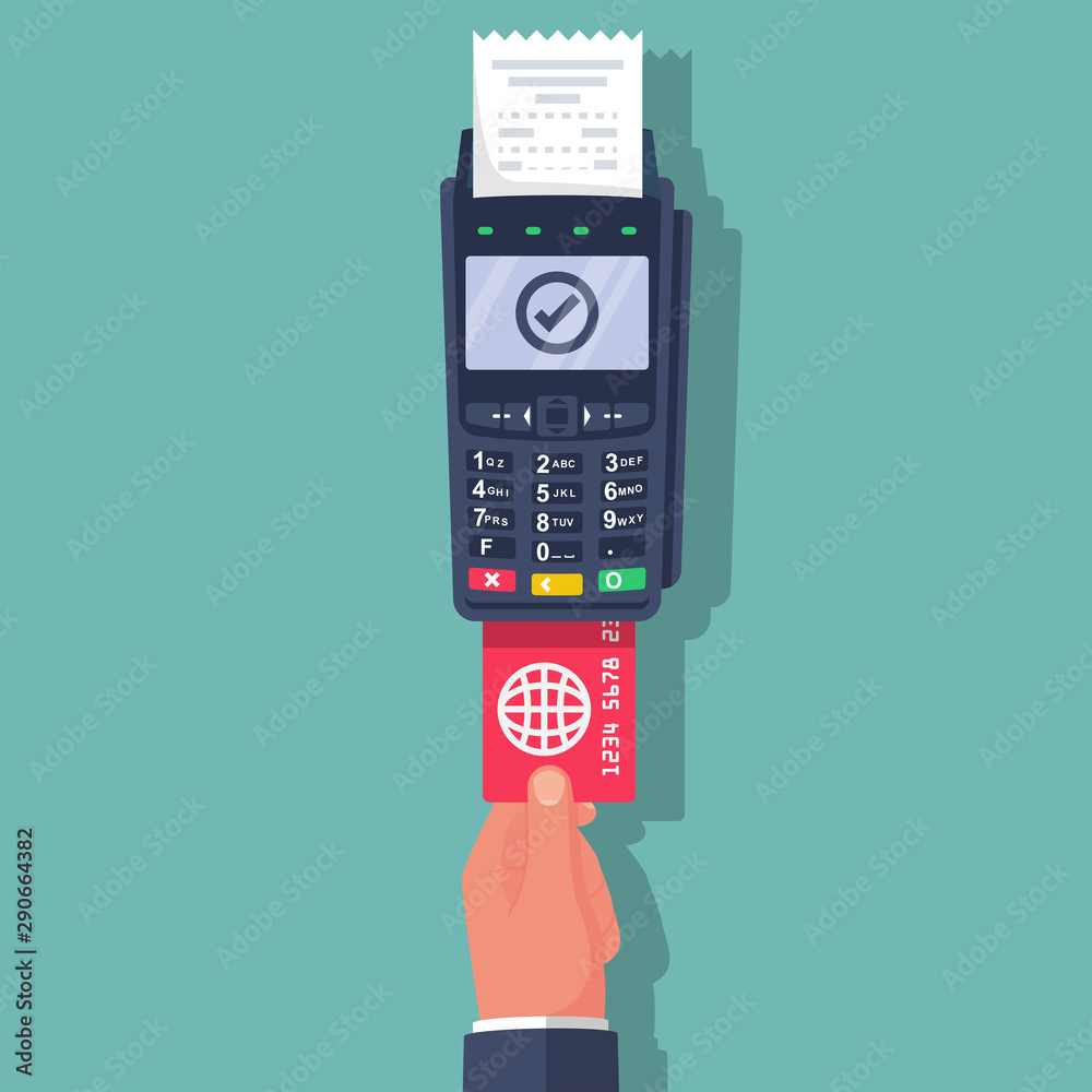 Fototapeta Payment terminal with keyboard . Person holds a bank card for payment through the pos terminal. Landing page financial transactions payment system. Vector illustration flat design.
