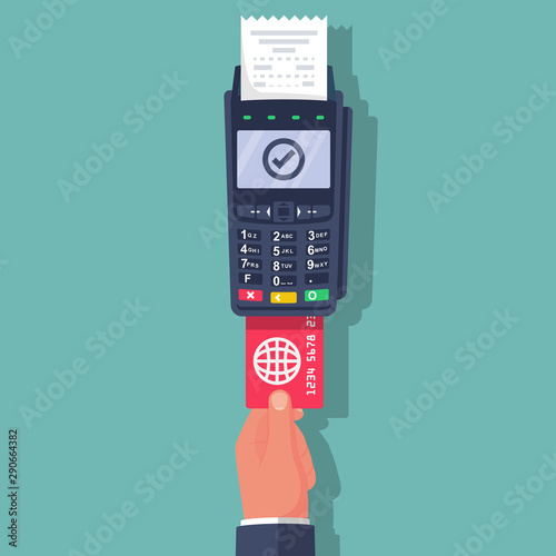 Fotografia Payment terminal with keyboard