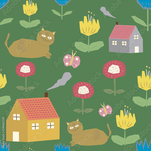 fototapeta na ścianę Cats, houses and flowers, seamless pattern