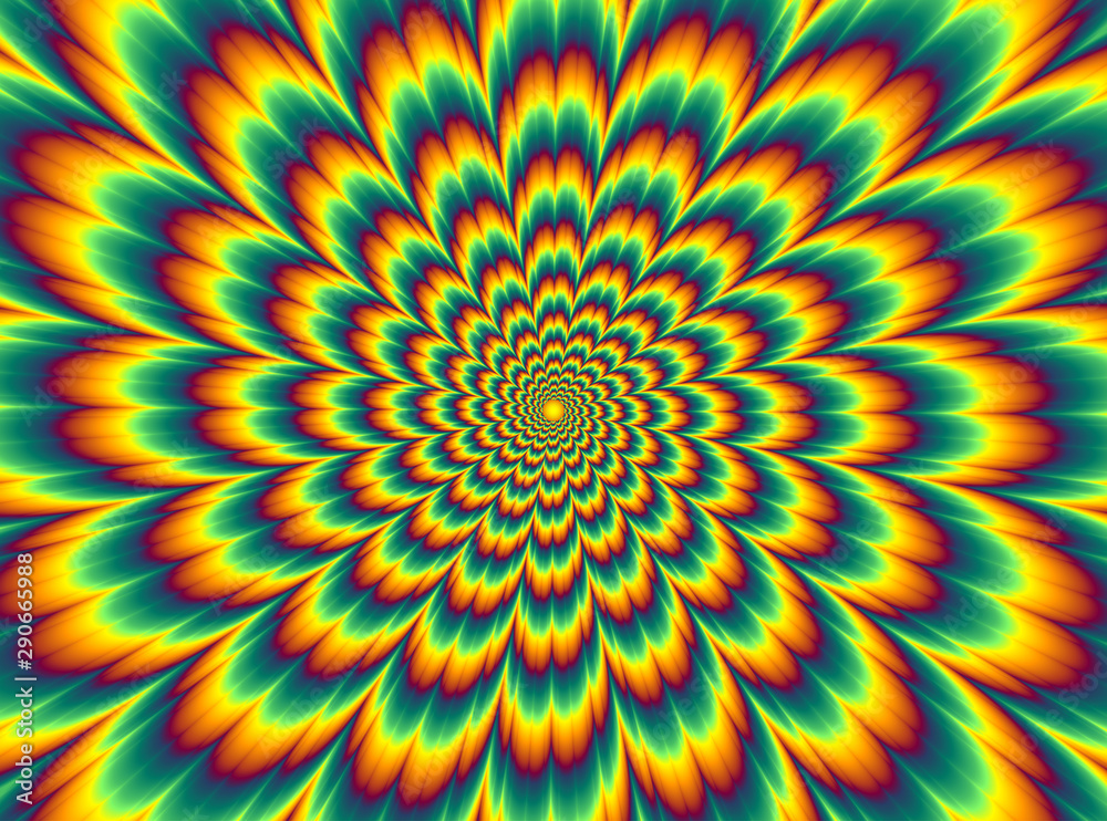 Fototapeta Pulsing fiery flower. Optical illusion of movement.