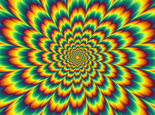 Pulsing Fiery Flower. Optical Illusion Of Movement.