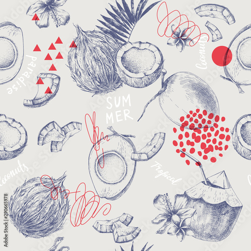 Seamless pattern with hand drawn coconuts and tropical flowers Canvas-taulu