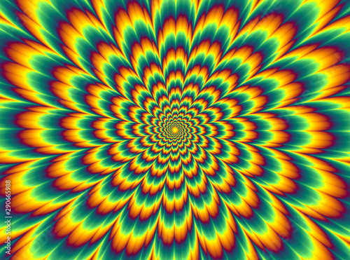 Fotomural  Pulsing fiery flower. Optical illusion of movement.