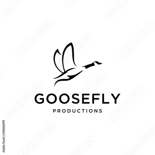 Illustration of flying goose with both wings looking beautiful. Fototapet