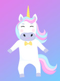 Funny unicorn cartoon character. Vector illustration for kids