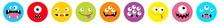 Monster Head Line Icon Set. Ro...
