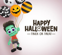 Happy Halloween Zombie Character Vector Background Template. Happy Halloween Trick Or Treat Greeting Text With Space For Message And Scary Zombie Holding Balloons In White Background.