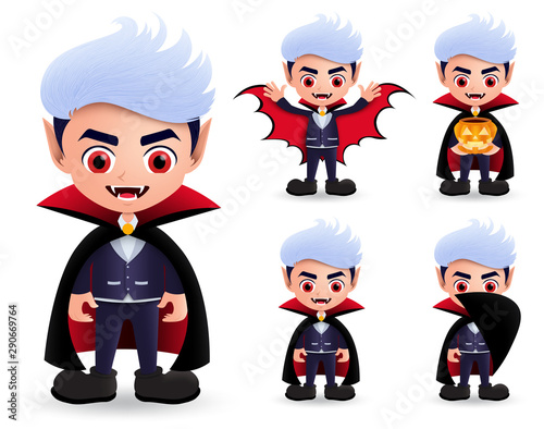 Vampire halloween characters vector set Canvas Print