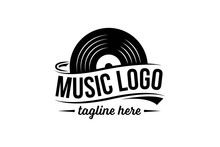 Vinyl Record Logo Template. Vector Music Icon Or Emblem.