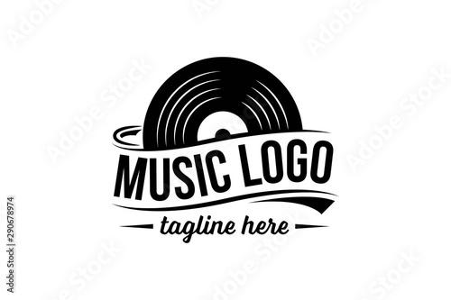 Fotografía Vinyl record logo template. Vector music icon or emblem.