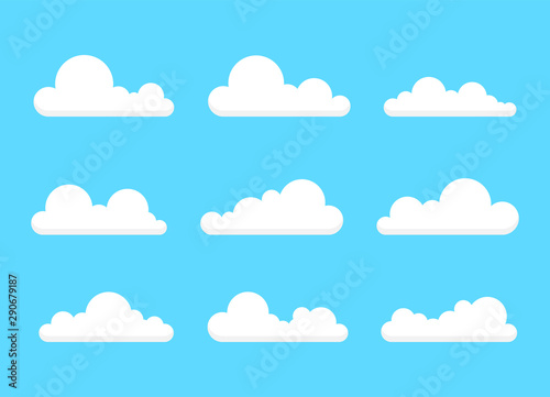 Foto op Plexiglas Hemel Collection of stylized cloud silhouettes. Set of cloud icons. Vector illustration.