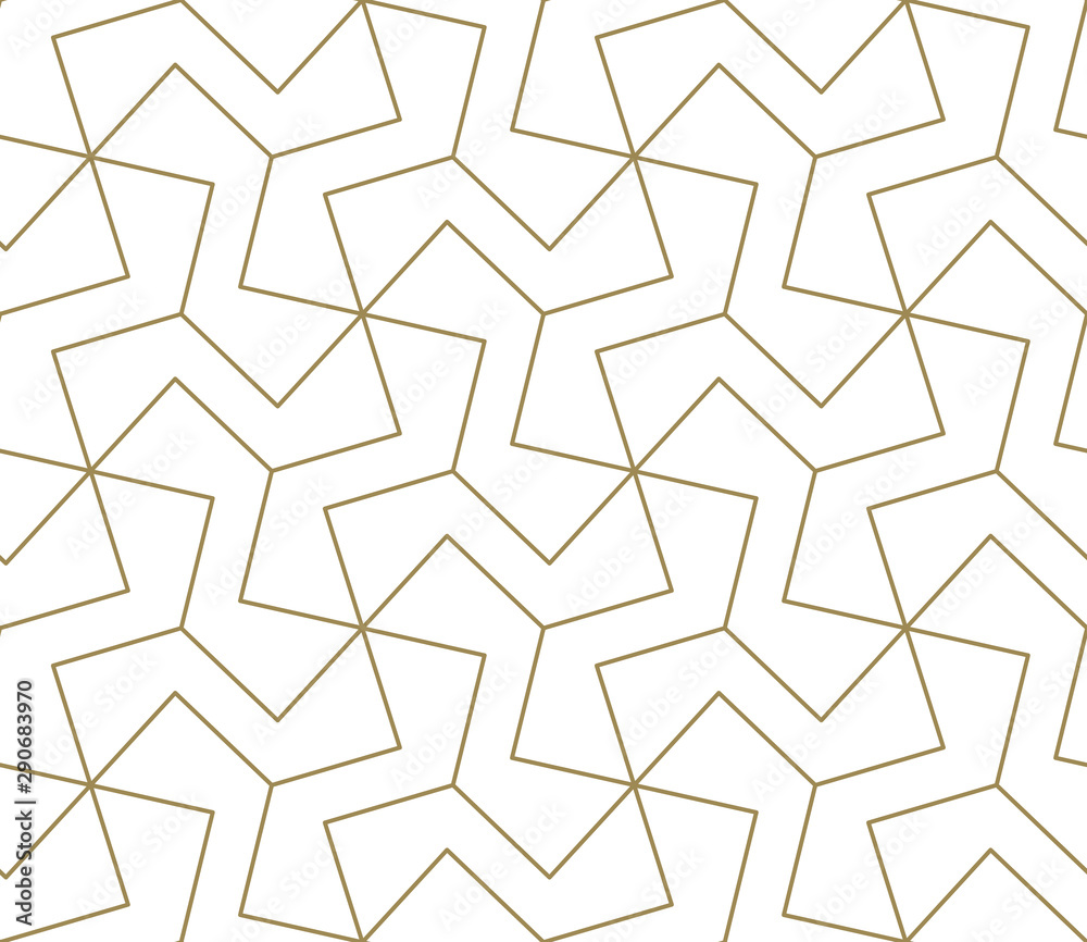 Fototapety, obrazy: Seamless pattern with abstract geometric line texture, gold on white background. Light modern simple wallpaper, bright tile backdrop, monochrome graphic element