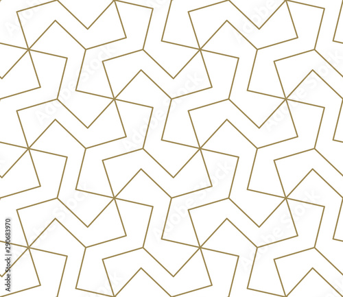 Printed kitchen splashbacks Pattern Seamless pattern with abstract geometric line texture, gold on white background. Light modern simple wallpaper, bright tile backdrop, monochrome graphic element