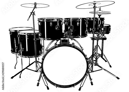 Fotografia Black and White Drums Drawing - Illustration for Your Graphic Designs, Vector
