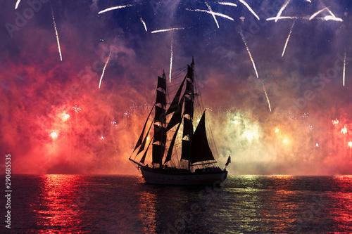 Türaufkleber Schiff fireworks