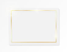 Gold Shiny Glowing Vintage Frame On Whte Plate Isolated On White Background. Golden Luxury Realistic Border. Wedding, Mothers Or Valentines Day Concept. Xmas And New Year Paper Abstract. Vector