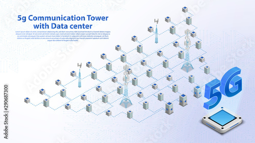 5g Communication Tower Wireless Hi-speed Internet with Data center with circuit board is background Fototapet