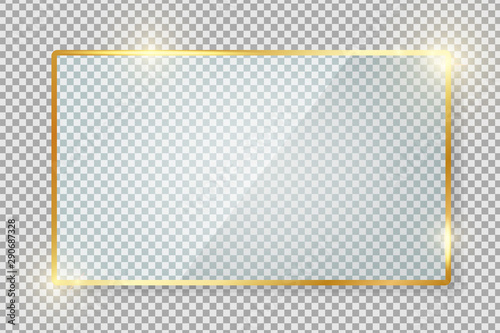 Transparent Gold Glass Banner With Reflection Isolated On