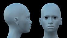 White Alien Head 3D Render
