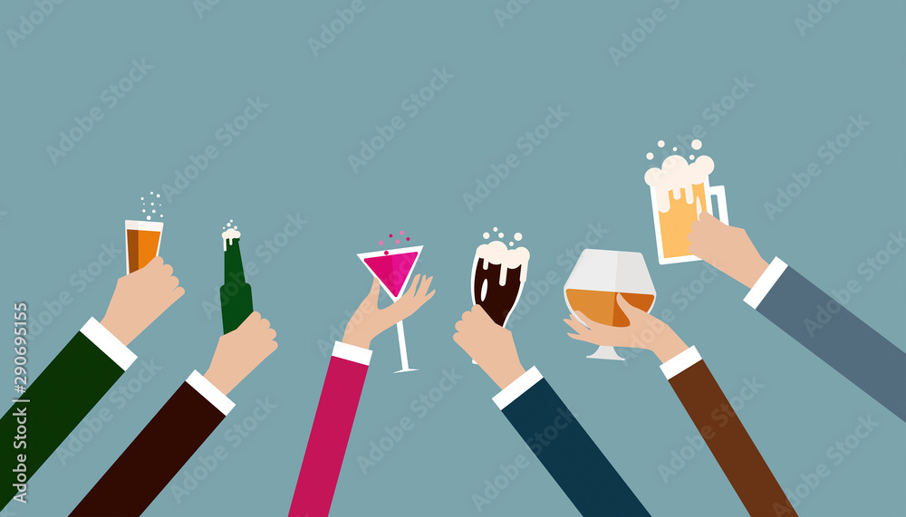 Fototapeta Business hand celebrating party after working,flat illustration  design.