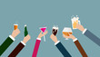 canvas print picture - Business hand celebrating party after working,flat illustration  design.