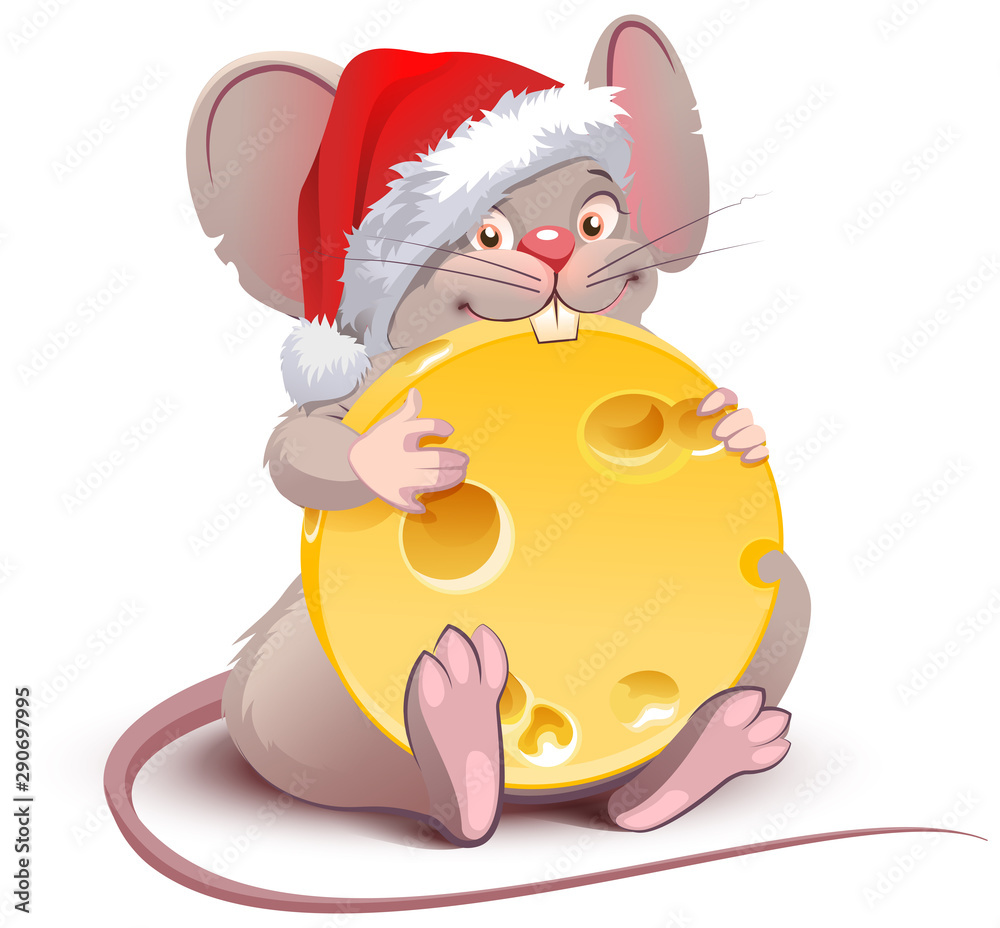 Fototapety, obrazy: 2020 year of rat to Chinese calendar. Santa rat holds big round cheese