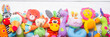canvas print picture - Colorful kids toys frame on wooden background. Top view. Flat lay. Copy space for text.