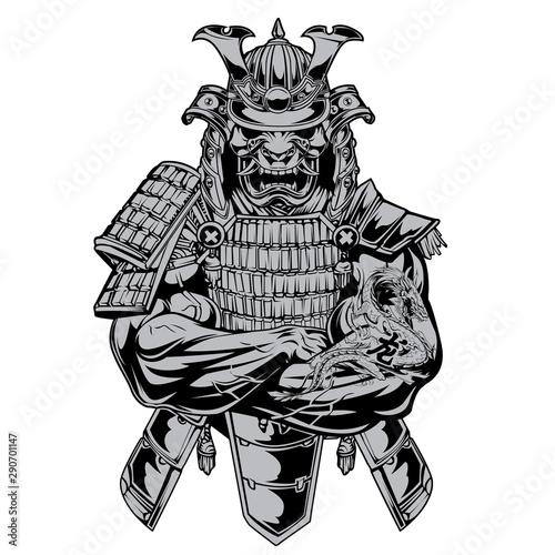 Samurai Muscle Blood Warrior Dragon Vector