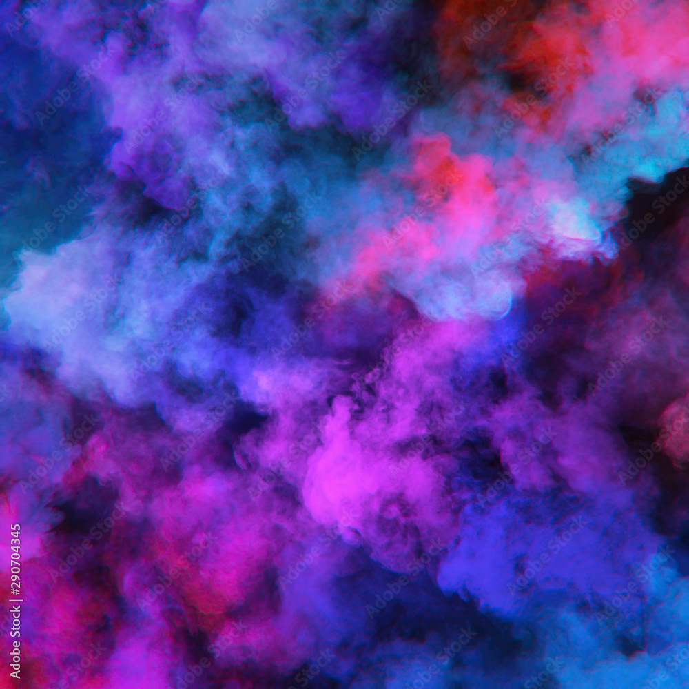 Fototapety, obrazy: Abstract clouds of color smoke colorful texture background. Colored fluid powder explosion, dust, vape smoke liquid abstract clouds design for poster, banner, web, landing page, cover. 3D illustration