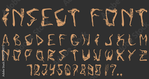 Fotografia  Vile font from different parts of the insects