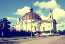 Bydgoszcz - Basilica In Poland. Filtered Vintage Color Style.