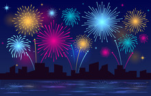 Colorful Brightly Beautiful Fireworks Night Sky City Vector Illustration
