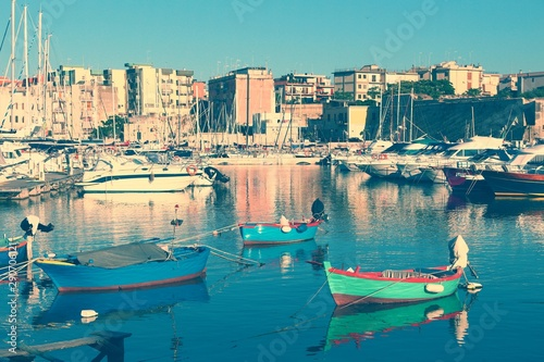 Bisceglie town. Filtered retro color style. Canvas Print
