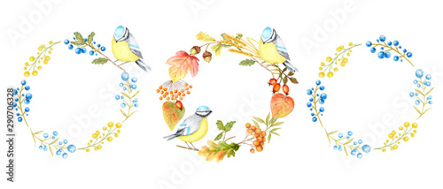 Poster Parrot Autumn leaf, berries and Tomtit birds Frame set isolated on a white background. Watercolor hand drawn Bird BlueTit sitting on the Branch. Greeting card, poster, banner concept with copy space for text
