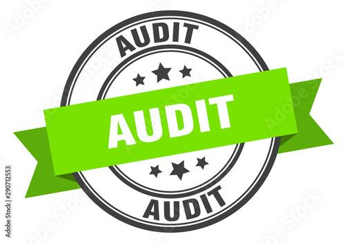 Photo audit label. audit green band sign. audit