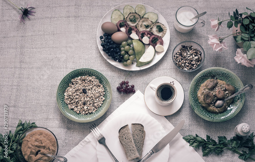 Fotografie, Tablou  Healthy Breakfast on tablecloth, top view, copy space