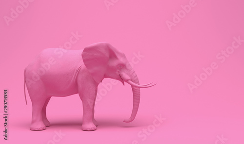 Obraz One plain pink realistic elephant isolated on a pink background. Creative conceptual monochrome illustration with copy space. 3D rendering. - fototapety do salonu