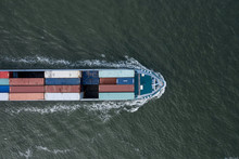 Bird's Eye View Of A Small Container Ship