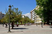 Granada; Spain - August 27 2019 : The Plaza Isabel La Catolica