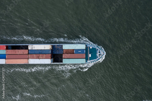 Vászonkép Bird's Eye View of a Small Container Ship