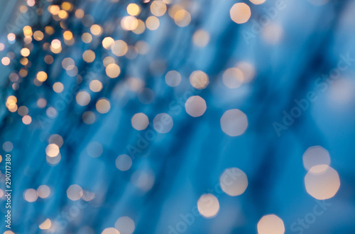 Fototapety, obrazy: holiday, illumination and decoration concept - bokeh of christmas garland lights over dark blue background