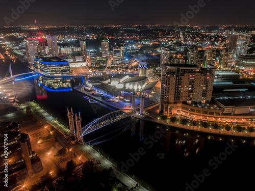 Fototapeta Media City Television Studios in Manchester UK at Night obraz na płótnie