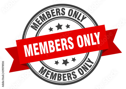 Fotografía  members only label. members only red band sign. members only