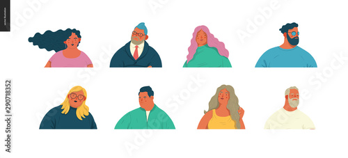 Body positive portraits set - hand drawn flat style vector design concept illustration of men and women, male and female faces and shoulders avatars Canvas Print