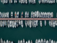 Bird's Eye View Of Yachts, Boats And Ships Moored In A Marina
